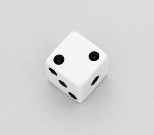 Set of 2 White Unmatched Dice Knobs