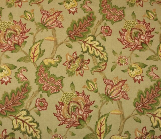 """P KAUFMANN JACOBEAN FLORAL GOLD WHEAT OUTDOOR INDOOR FABRIC BY THE YARD 54""""W"""