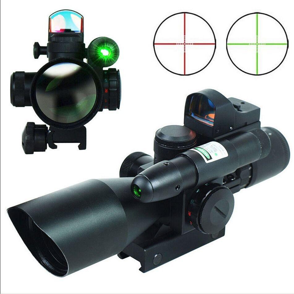 Mira Para Rifle 2.5-10X40 caza táctico holográfica con Mini Láser verde
