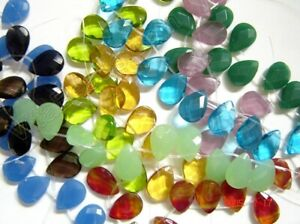 Jade-Chalcedony-Glass-Quartz-10x14mm-to-13x18mm-Faceted-Flat-Briolette-Beads