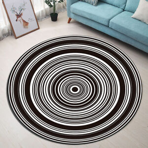 Details About Black White Circles Round Carpet Porch Bedroom Yoga Area Rug Kids Play Floor Mat