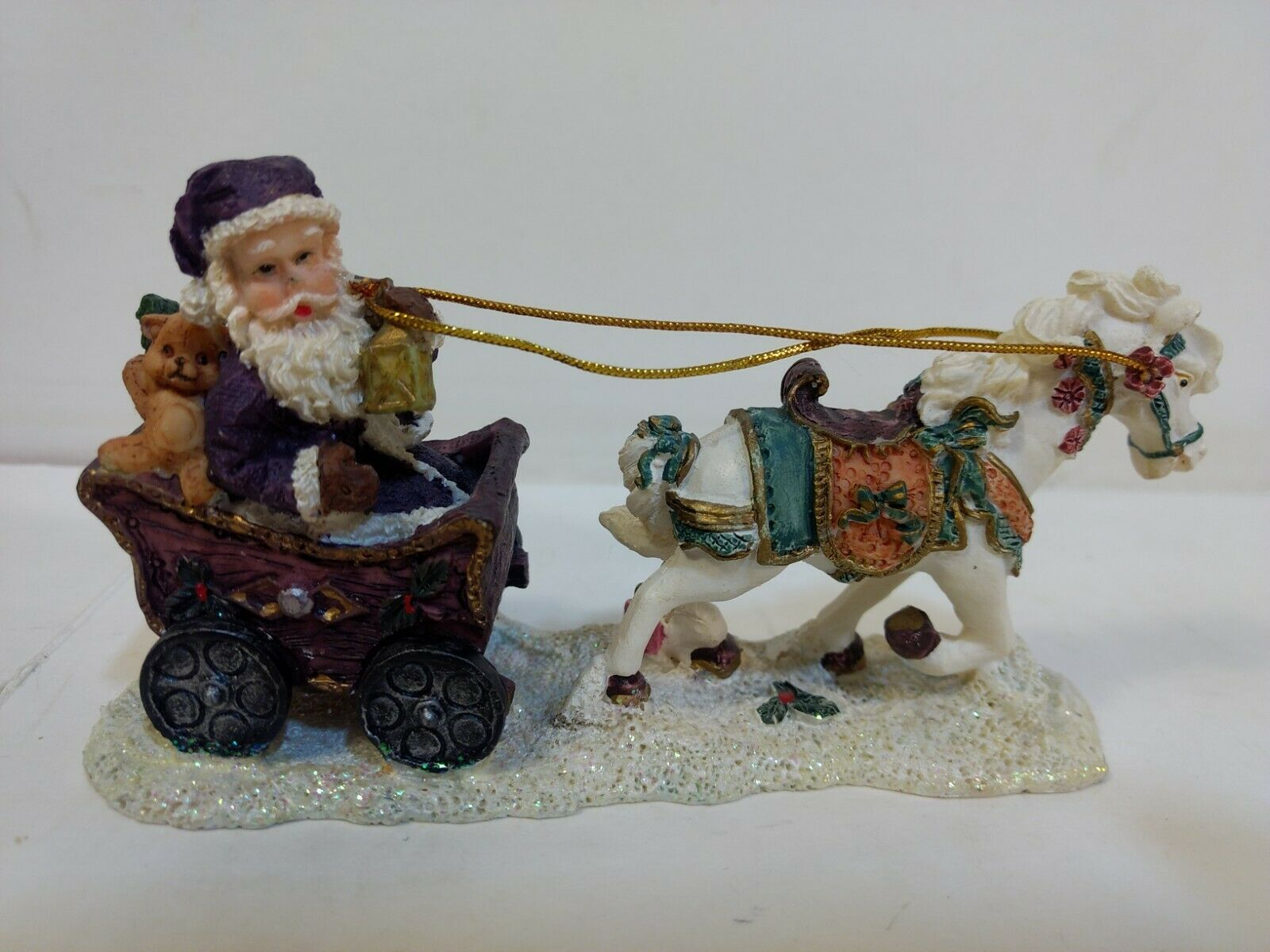 Purple Santa Claus In Horse Drawn Carriage Resin Christmas Decoration Ch2097 Ebay