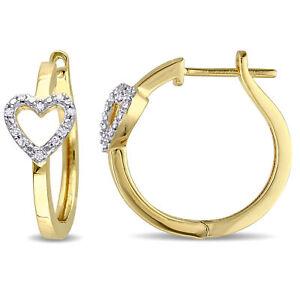 Amour Yellow Plated Silver Diamond Hoop Heart Earrings
