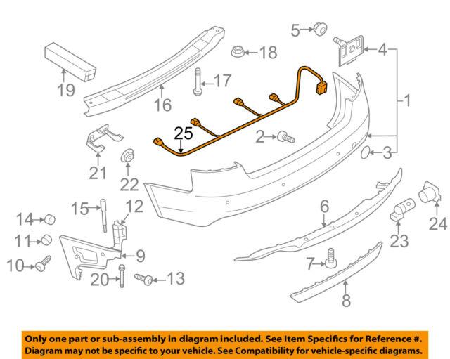 2012 audi wiring diagram 2009 2012 audi a4 rear bumper wiring harness with sensors oem  2012 audi a4 rear bumper wiring harness