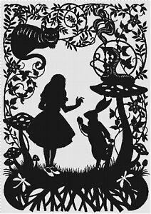 Alice in Wonderland Silhouette Cross-Stitch Pattern Needlepoint Chart
