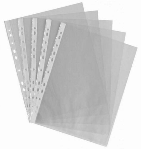 30xPunched Pockets A4 Clear Plastic Poly Strong Filing Wallets Sleeves 40micron