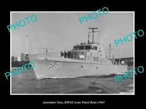 OLD-8x6-HISTORIC-PHOTO-OF-AUSTRALIAN-NAVY-HMAS-ACUTE-PATROL-BOAT-c1965