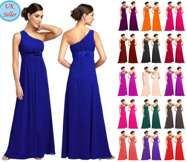 New One shoulder Full Length Chiffon Party Evening Wedding Bridesmaid Dress JS03