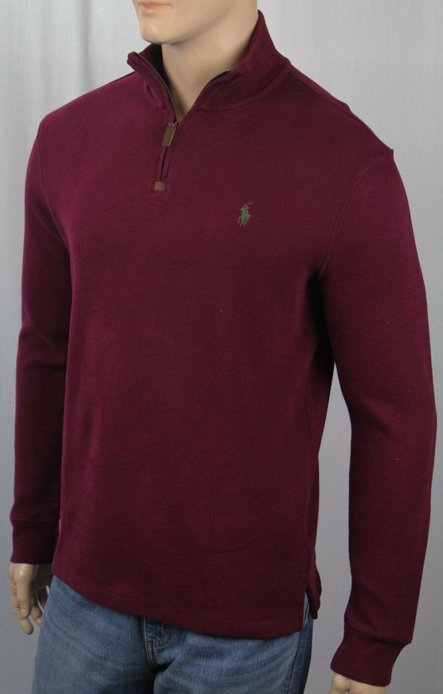 Polo Ralph Lauren Burgundy 1/2 Half Zip Sweater Grün Pony NWT