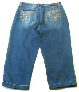 Royalty-WannaBettaButt-Womens-Capris-Size-6-Blue-Cuffed-Embroidered-Pockets