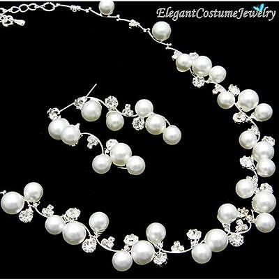 Bridesmaid & Bridal White Pearl Crystal Necklace Set Gift Box - chunky jewelry