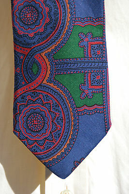 Rooster Gentleman's Ancient Madder Blue and Green Printed 100% Silk Necktie- USA