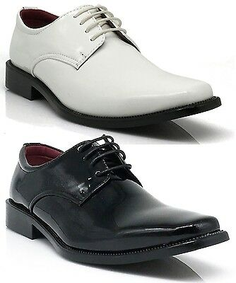 New Parrazo Men Black Dress Shoes Tuxedo Wedding Lace Up Oxfords Patent Tuxi