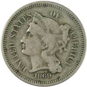 1869-Three-Cent-Piece-VG-Very-Good-Nickel-3c-US-Type-Coin-Collectible