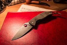 Spyderco Tenacious CUSTOM Pocket Knife - Stonewashed w/ Canvas Micarta Scales