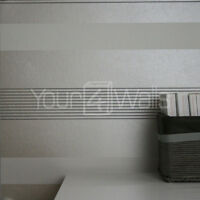 'Opulence' stripe/striped/stripey wallpaper - Metallic Taupe/Cream, White & Grey