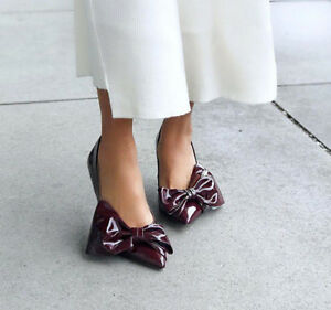 1a9300ef5c9 ZARA BURGUNDY FAUX PATENT COURT SHOES WITH BOW HEELS UK SIZES 2   3 ...