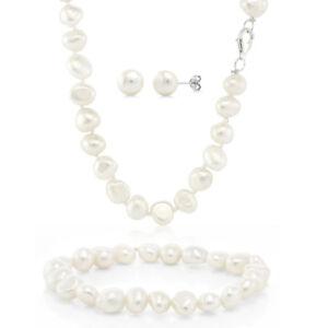 Cultured-Freshwater-White-Pearl-925-Silver-Necklace-Earrings-Bracelet-Set