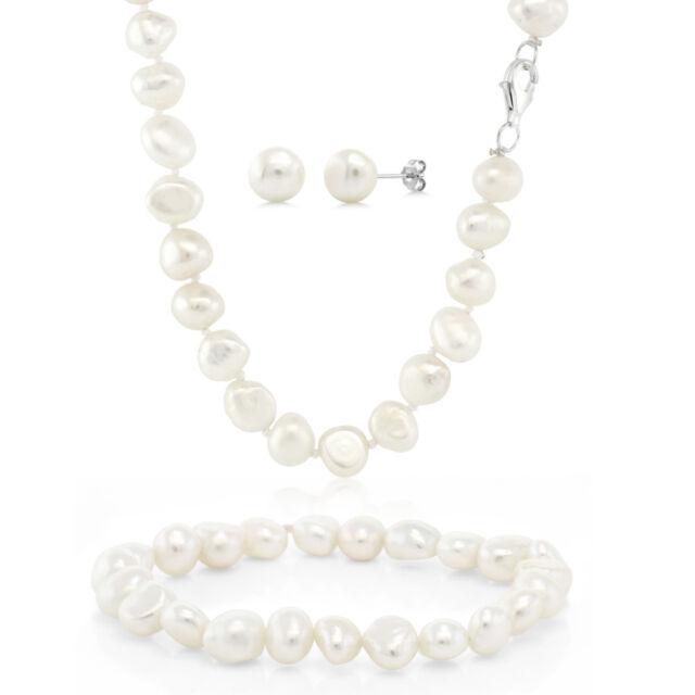 Cultured Freshwater White Pearl 925 Silver Necklace Earrings Bracelet Set
