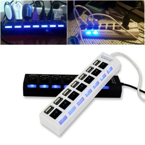 High Speed Adapter ON//OFF Switch Laptop//PC USA 7-Port USB 2.0 Multi Charger Hub
