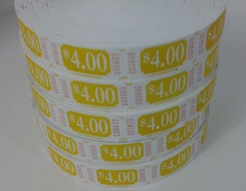 2000 TICKETS YELLOW CUSTOM PREMIUM $ 4.00 DENOMINATION TICKETS