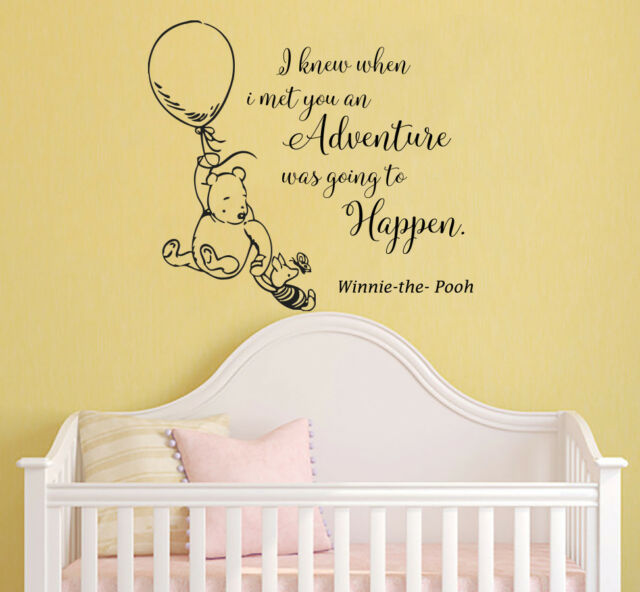 Quote Nursery Wall Stickers Classic Winnie The Pooh Decals Vinyl Art Decor Rm78
