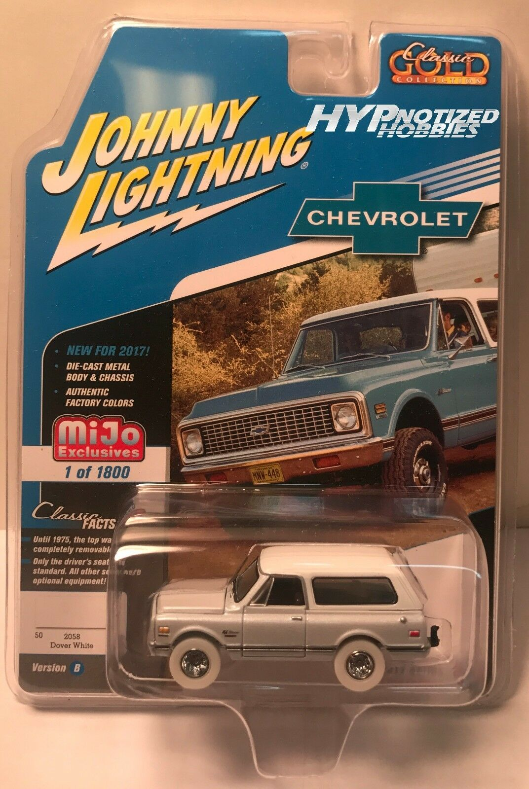 Johnny Lightning 1 64 Persecución 1969 Chevy Senda Blazer Die-Cast whiteo