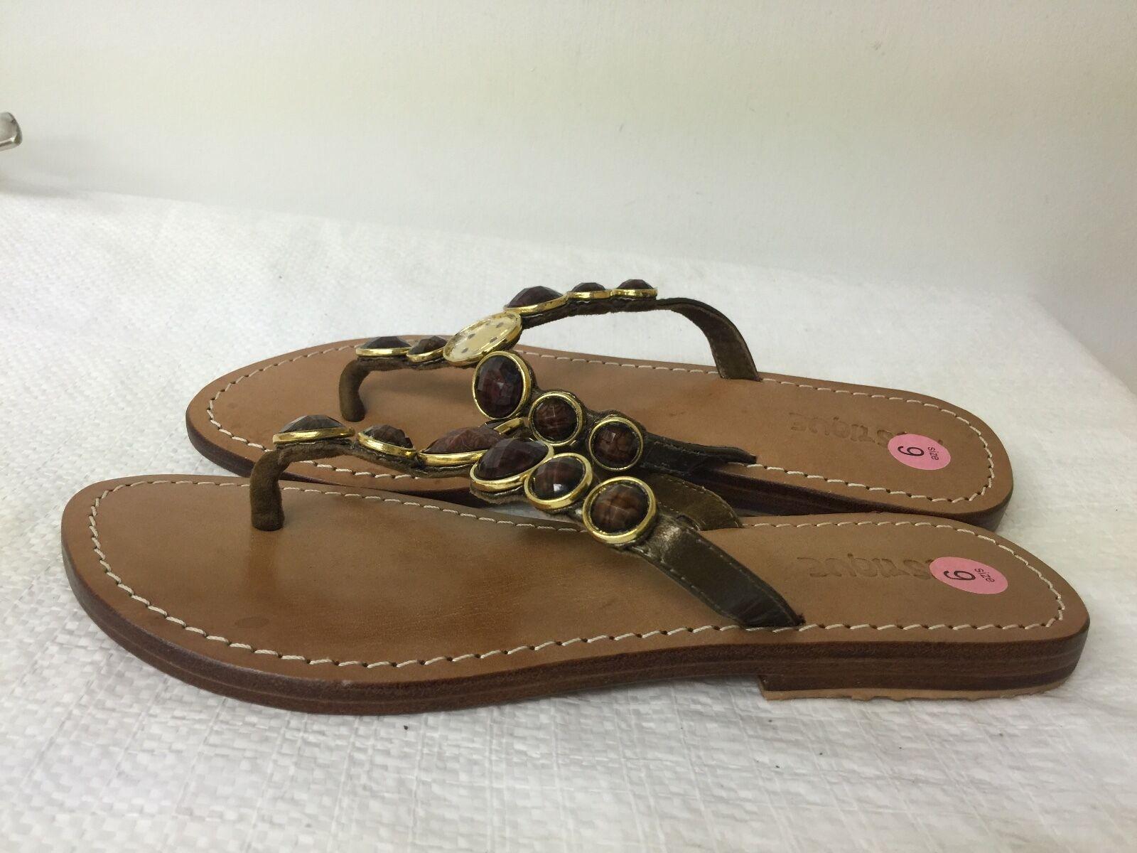 MYSTIQUE Braun  Jeweled Leder Flip Flops Thong Sandales Größe 9 M