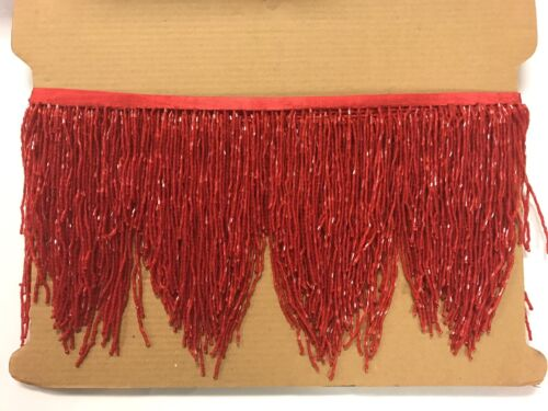 "5yd Bolt 6/"" RED Glass BUGLE Seed Beaded Fringe CHEVRON Lamp Costume Trim"