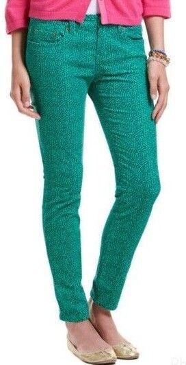 NWT  108 Women's Vineyard Vines Corduroy Camden Green Polka Dot Skinny Pants