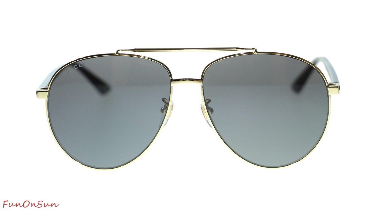 3a334b3d81094 NEW Gucci Men s Sunglasses GG0043SA 002 Gold Havana Grey Lens 61mm ...