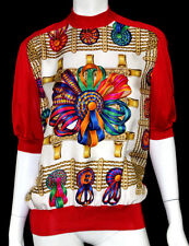HERMES Vintage NWT Multi & Red LES RUBANS DU CHEVAL Print Silk Sweater 42