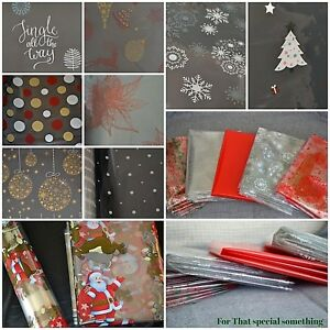 Christmas Cellophane Clear Present Gift Wrapping Choose From Variety Of Designs Ebay