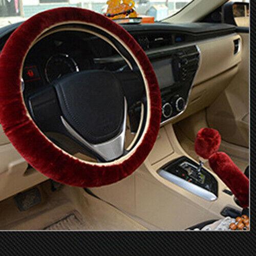 3pcs Plush Fur Fluffy Car Steering Wheel Cover Handbrake Cover Gear Knob Cover
