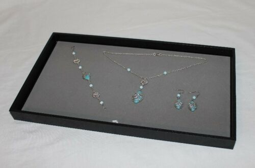 LARGE JEWELRY DISPLAY TRAY WITH GRAY VELVET PAD