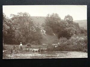 Sussex-POYNINGS-The-Springs-showing-Lady-on-Wooden-Footbridge-c1914-RP-Postcard
