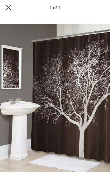 "70/"" Shower Curtain Polyester Fabric Hook Set Fall Tree Bathroom Decor White New"
