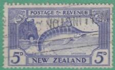 New Zealand #192 used 5d Marlin Fish wmk 61 1935 cv $35