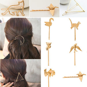 Various-Women-Girls-Gold-Silver-Rose-Geometry-Triangle-Hairpin-Animal-Hair-Clip