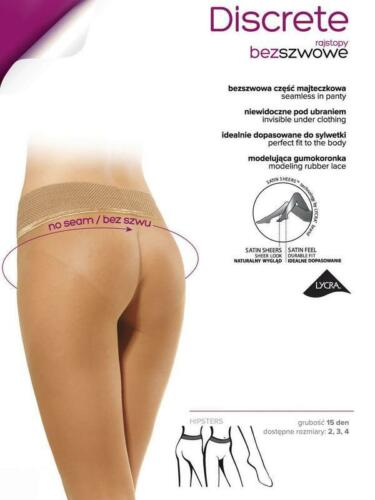 Discrete Seamless Quality Gatta Sheer Tights No Seam Hosiery S,M,L 15 Den Denier