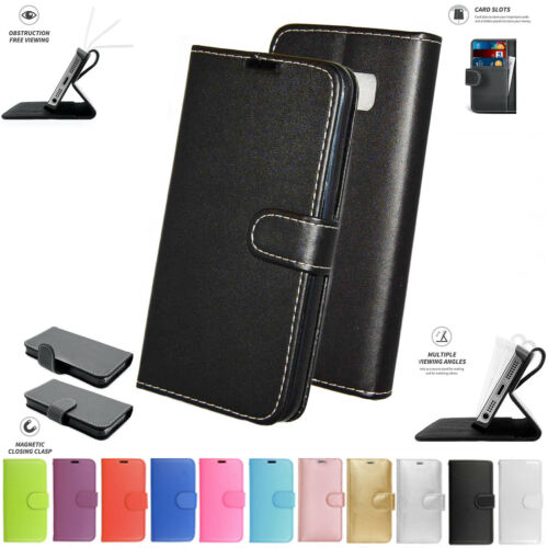 Sony Xperia M5 Libro Bolsa Funda Cartera De Cuero Teléfono Negro Rosa