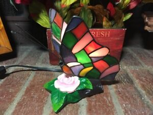 Details about TV Lamp/Night Light Ceramic Flower W/ Mosaic Butterfly  Vintage BEAUTIFUL
