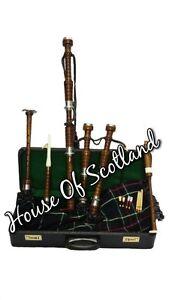Scottish-Great-Highland-Bagpipe-Brown-Natural-Silver-Mounts-Tutor-Book-Hard-Case