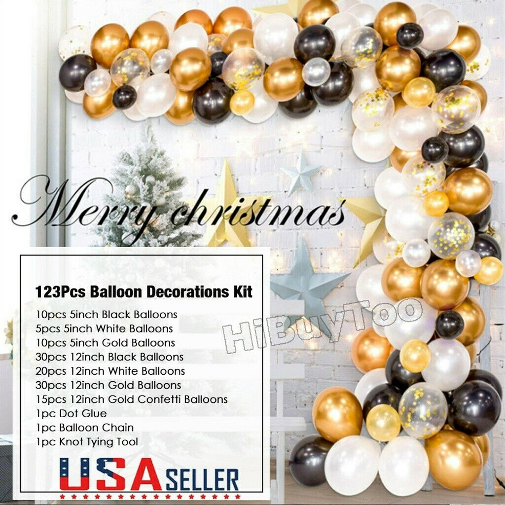 Balloon Garland Arch Kit 100pcs Diy Black Gold And Confetti Balloons Decoration For Sale Online Ebay