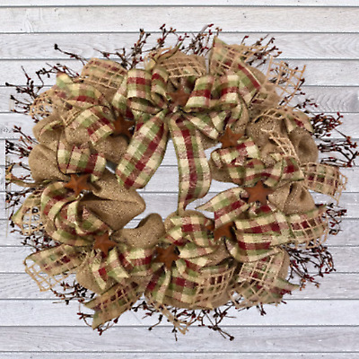 Primitive Burlap Wreath With Pip Berries And Rusted Stars Farmhouse Wreath Ebay