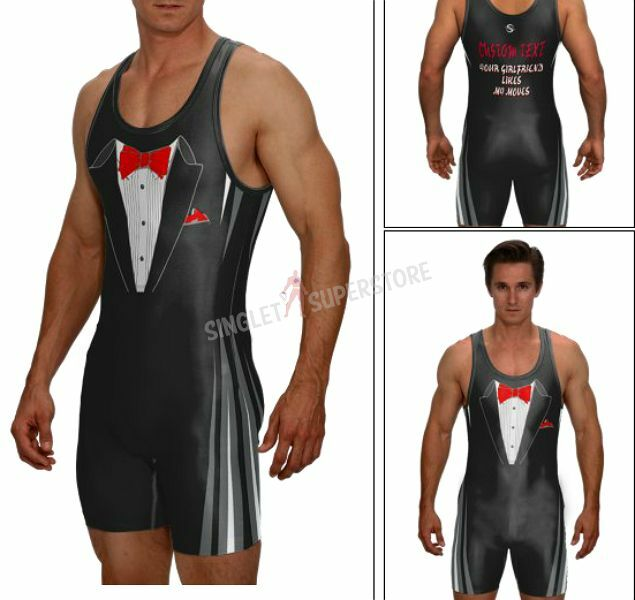 Your girlfriend likes my moves WRESTLING SINGLET, tux singlet with custom text
