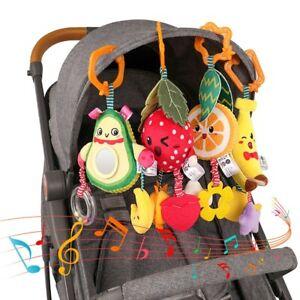 Juguetes Para Bebés 4 Mordedores Sonajeros Para Cuna Y Cochecito Colgante Frutas Ebay