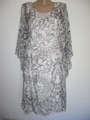 White Seide Lagenlook Italy Eg 40 Boho Empire Black Impressionen Kleid 44 Tunika SBqF0B