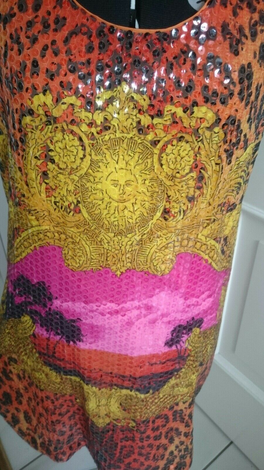 VERSACE x H&M H&M H&M Pailletten Kleid Gr. 42 Gold Leo Animalprint Orange Barock LIMITED 9db043