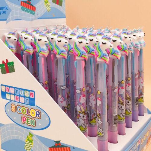 2//6PCS Unicorn Ballpoint Pen 3 in 1 Ball Pen Writing Stationery School Supply